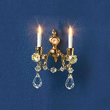 Amazon.com: Dollhouse miniatura 12 V double-candle vidrio ...