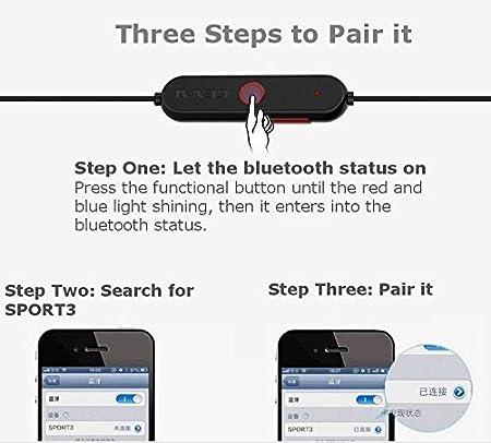Deporte Auricular Bluetooth, Dentro de oído, genai SPORT3 estéreo auriculares inalámbricos Bluetooth 4.1 con Micrófono para iPhone, iPad, ...
