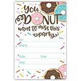 Donut Party Invitations with Envelopes (20 Count)