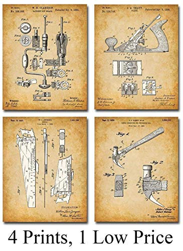 Original Woodworking Tools Patent Prints - Set of Four Photos (8x10) Unframed - Makes a Great Gift Under $20 for Carpenters and Woodworkers from Personalized Signs by Lone Star Art
