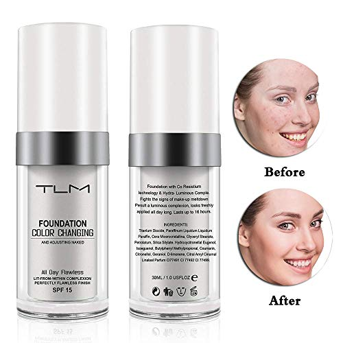 TLM Flawless Colour Changing Foundation Warm Skin Tone Makeup Base Nude Face Liquid Cover Concealer - Base Tone