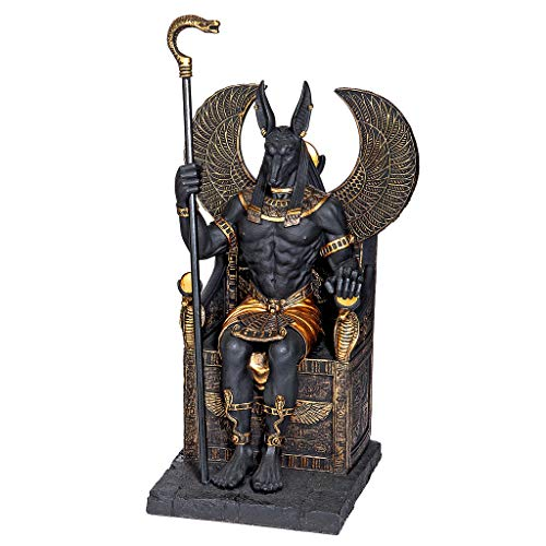 Design Toscano Egyptian God Anubis Sitting on The Throne of The Underworld Statue, 10 Inch, Polyresin, Black and Gold -