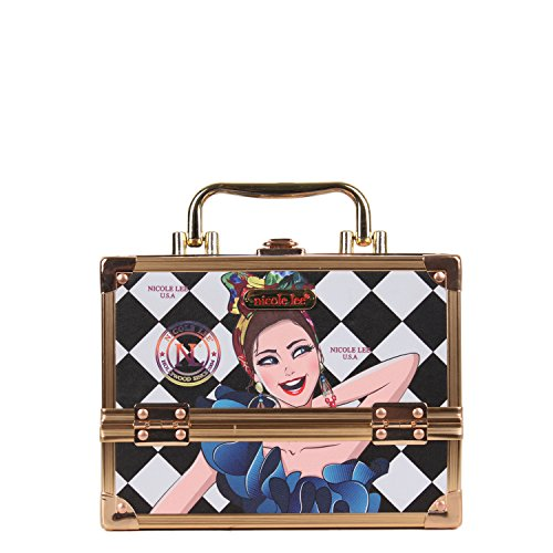 Cosmetic Organizer Box With Stylish [Lily Loves To Shake] Print Make Up Container 2 Easy Slide Trays ()