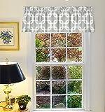 Appleberry Attic Geometric Pattern Window Curtain Valance, 52″X16″+2″ header(Gray) For Sale