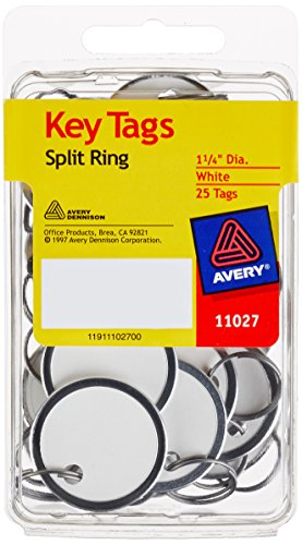 Avery Key Tags, Split Ring, White, 1.25 Inch Diameter, Pack of 25 (11027)
