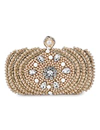 BAIGIO Ladies Evening Clutch Bag Pearl and Bead Sparkly Crystal Diamante Bridal Purse for Party/Prom/Wedding