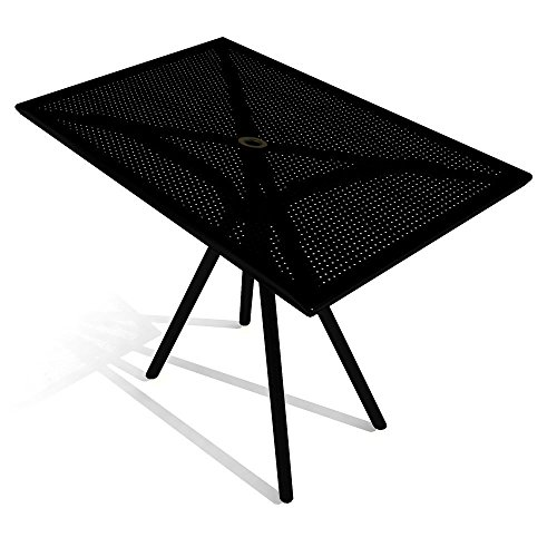 American Tables & Seating AB3048 Outdoor Tables, Fine Mesh Rectangle Top, Umbrella Hole, Powder Coat, 30