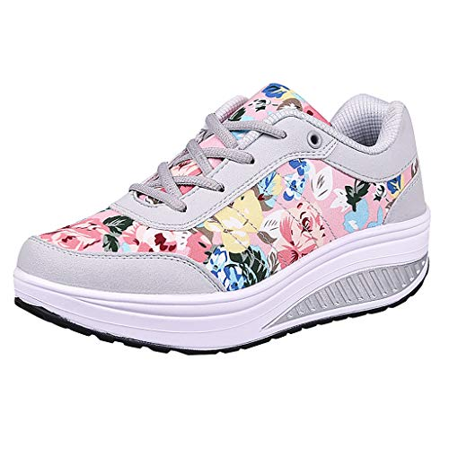 2019 Summer New Women's Casual Platform Wedge Air Cushion Sneakers Outdoor Soft Breathable Thick Bottom Lightweight Shoes (Pink, US:6.5)