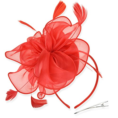 DRESHOW Fascinators Hat Tea Party Headwear Ribbons Feathers on a Headband and a Clip for Girls and Women ()