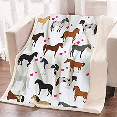ARIGHTEX Cute Horse Blanket for Bed and Office Kids Girls Pretty Ponies Throw Blanket Cartoon Farm Animals Blanket (60 x 80 Inches): Home & Kitchen