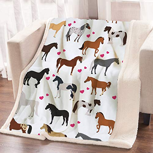 ARIGHTEX Cute Horse Blanket for Bed and Office Kids Girls Pretty Ponies Throw Blanket Cartoon Farm Animals Blanket (50 x 60 Inches)