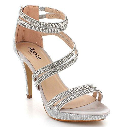 De Bal Open Talon Femmes Sandales Taille Argent Dames Soir Mariage Briller Toe Haut Mariée Fête Chaussures Sxn8x0v