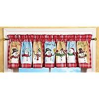 Colecciones Etc Fiesta de nieve Tiempo País Muñeco de nieve Cenefa de ventana con borde a cuadros a cuadros rojo y blanco - Acentos de casas de vacaciones