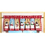 Collections Etc Snow Time Checkered Window Valance