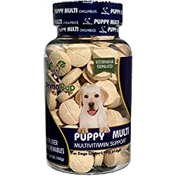 Puppy Multivitamin by Primo Pup Vet Health | Supports Physical & Mental Wellbeing | Veterinarian Formulated | Easy to Digest | No Artificial Colors, Flavors, or Grains | Made in the USA | 60 Chewables