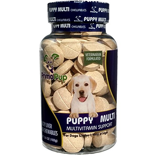 Primo Pup Puppy Multivitamin Vet Health | Supports Physical & Mental Wellbeing | Veterinarian Formulated | Easy to Digest | No Artificial Colors, Flavors, or Grains | Made in The USA | 60 Chewables ()