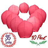 Chinese Sky Lanterns Paper (10) Red Pack - Ready to Use and Eco Friendly - Extra Large - 100% Biodegradable - Beautiful Sky Lantern for Parties, Chinese Festival, Memorials, New Year's, etc.