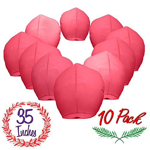 (Chinese Sky Lanterns Paper (10) Red Pack - Ready to Use and Eco Friendly - Extra Large - 100% Biodegradable - Beautiful Sky Lantern for Parties, Chinese Festival, Memorials, New Year's, etc.)