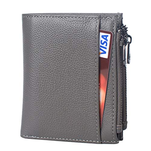 Leather Double Coin Purse - RFID Blocking Soft Leather Wallet for Women, Ladies Mini Compact Bifold Purse With Double Zipper Coin Pocket (Grey)