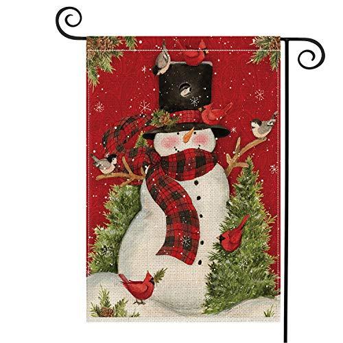 AVOIN Snowman with Buffalo Plaid Scarf Garden Flag Vertical Double Sized, Winter Holiday Christmas Burlap Yard Outdoor Decoration 12.5 x 18 Inch (Flag Y Garden)