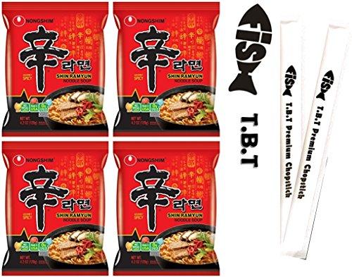 TBT Fish Korean Spicy Noodles Variety Pack NongShim Shin Ramyun 4 Pcs Plus 2 TBT Premium Fish Logo Chopsticks (Shin4)