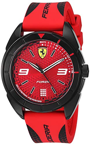 Ferrari Men's 'Forza' Quartz Stainless Steel and Silicone Casual Watch, Color:red (Model: 0830517)