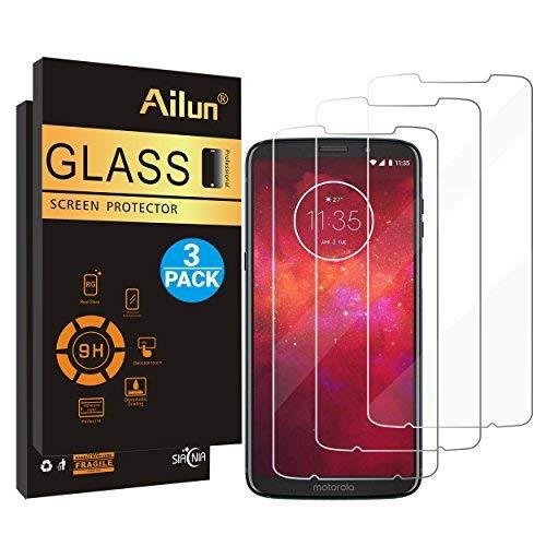 Protector de visualización Ailun compatible con Moto Z3 Play (Verizon Moto Z3) [3 unidades] vidrio templado, dureza 9H,...