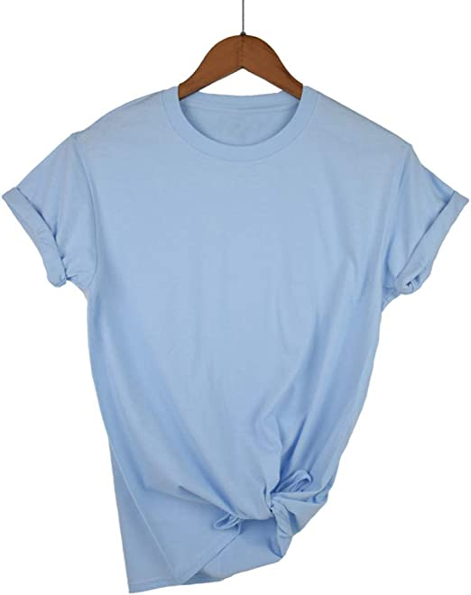 AYUOP Llanura T Shirt Mujeres Algodón Elástico Camisetas Básicas ...