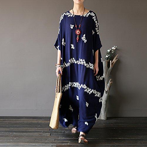 Short Blue Cotton Women's Tunic Embroidery Floral Sleeve L Aeneontrue Dress 5gRqS