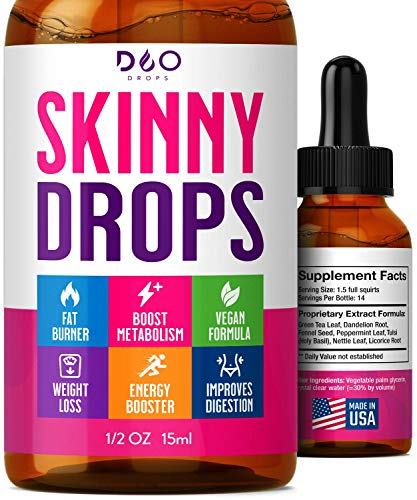 Skinny Drops – Weight Loss, Diet Supplement, Lose Appetite- Natural Fat Burner to Boost Metabolism – for Men and Women…
