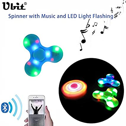 Ubit Anti-Anxiety 360 Hand Spinner with Music and Bluetooth Speaker Reducer Relieves ADHD Anxiety and Boredom Cube Bearing(Blue)