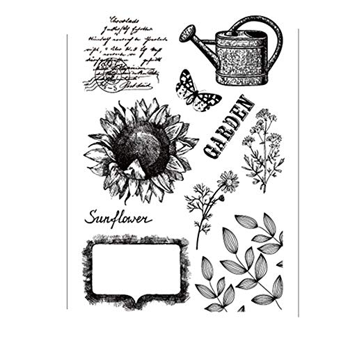 Garden Sunflowers Leaves Stamp Rubber Clear Stamp/Seal Scrapbook/Photo Album Decorative Card Making Clear ()