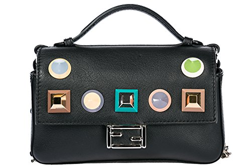 Fendi women's leather cross-body messenger shoulder bag double micro baguette bl Fendi Black Bag