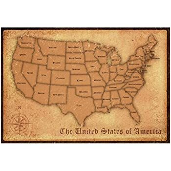 Amazon.com: Laminated United States Vintage Style Map Poster Print ...