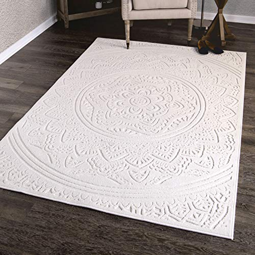 Orian Rugs Farmhouse Boucle Collection 409741 Indoor/Outdoor High-Low Mandala Area Rug, 5'2