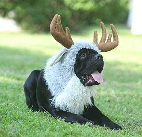 Onmygogo Funny Dog Halloween Costumes, Cute Furry Pet Wig for Halloween Christmas, Pet Clothing Accessories (Moose, Size M)