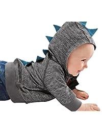 bebé Baby Boys Cute Otoño Outerwear chamarra dinosaurio cierre con capucha ropa de chamarra