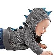 Sunbona Toddler Baby Boys Cute Autumn Outerwear Jacket Dinosaur Hooded Zipper Coat Clothes (3~6Months, Dark Gray)