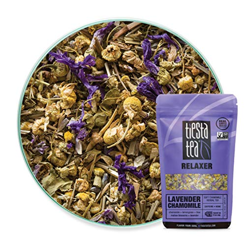 Tiesta Tea | Lavender Chamomile, Loose Leaf Soft Chamomile Herbal Tea | All Natural, Caffeine Free, Stress Relief, Relax, Sleep Tea, Calming | 0.9oz Resealable Pouch - 30 Cups | Lavender Herbal Tea