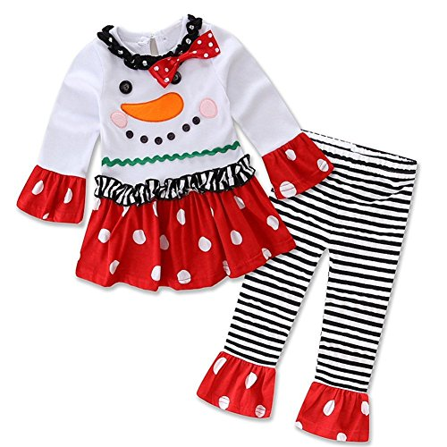 Baby Girls Toddler Christmas Set Snowman Top Leggings Headband Outfits White 12-24 Months]()