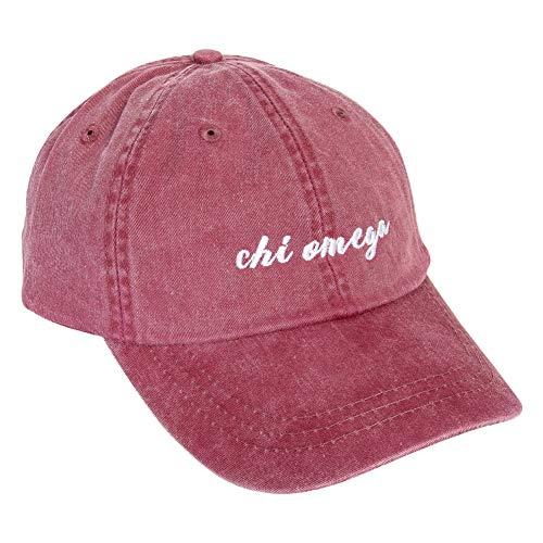 Chi Omega N Sorority Baseball Hat Cap Cursive Name Font Chi O