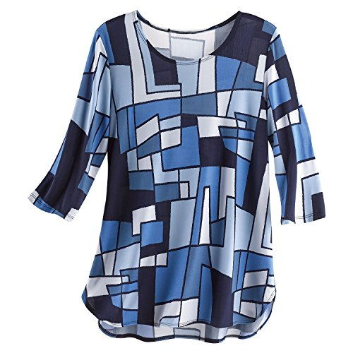 Squad Mod Fabric (Caribe Women's Blue Geometric Shapes Print Tunic Top -3/4 Sleeve Artistic Blouse - XL)