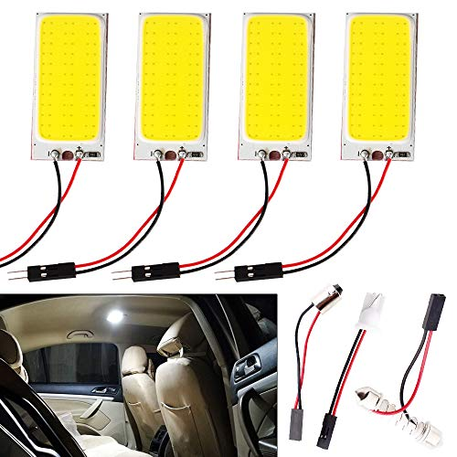 Everbright 4-Pack Super White COB 36-SMD LED Panel Dome Lamp Auto Car Interior Reading Plate Light Roof Ceiling Interior Wired Lamp With 4BA9S Adapter,4T10 Adapter,4Festoon Adapter (DC-12V)