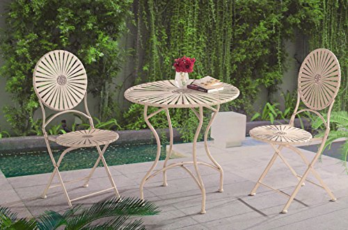 sunjoy 3 Piece Averon Antique White Steel Bistro Set