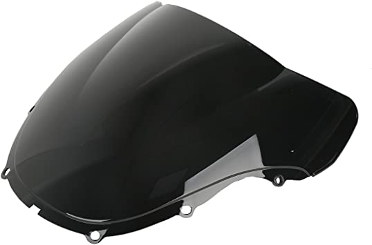 Protek ABS Plastic Injection Black Smoke Double Bubble Transparent Windscreen Windshield Front Visor for 2000 2001 Honda CBR929RR CBR 929