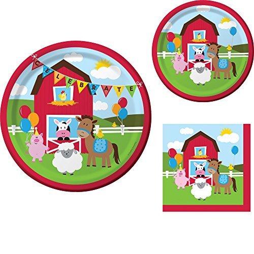 Farmhouse Fun Birthday Party Supplies Set: Dinner Plates, Dessert Plates, and Napkins Kit for 16 -