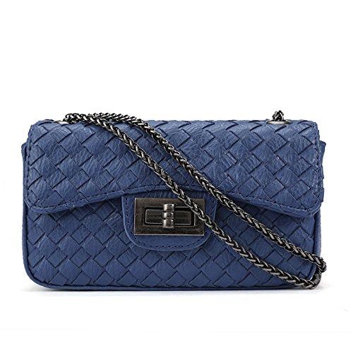 Ljiang Gewebte Taschen, Kette Schloss, Kette, Tasche, Kleine Tasche, Einheitlichen Schulter Ranzen,Violet