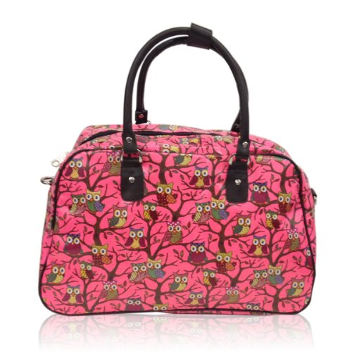 Bright Travel Owl Polka Dot Pink Weekend Oilcloth New Owl Holdall Print Flower Bag PxBqw