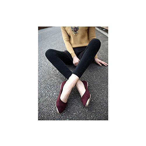 OCHENTA Calzados talla de planos Rojo boca metal Vino baja gran la informales de zapatos de xxZwrH