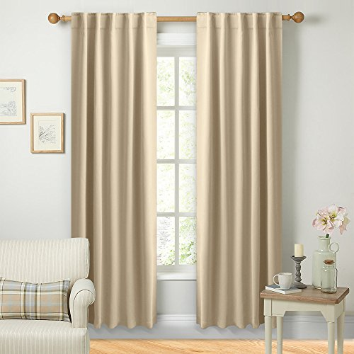 NICETOWN Window Treatment Room Darkening Curtains - (Beige Color) 42 Width X 84 Length, 1 Pair, Solid Thermal Insulated Blackout Rod Pocket & Back Tab Curtains and Drapes for Bedroom by